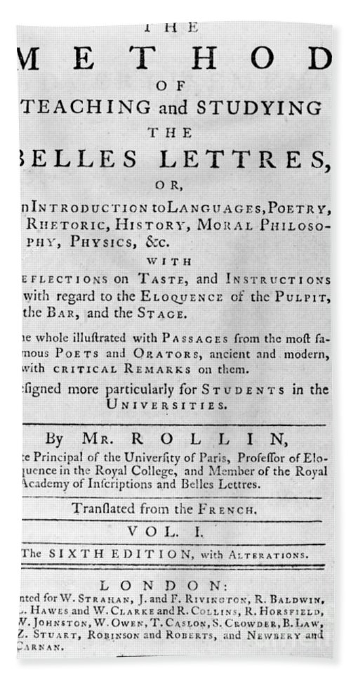 1767 Hand Towel featuring the photograph Rollin: Title Page, 1769 by Granger