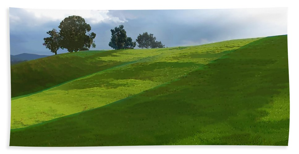 Landscape Bath Sheet featuring the painting Rolling Green Fields At End Of Day by Elaine Plesser