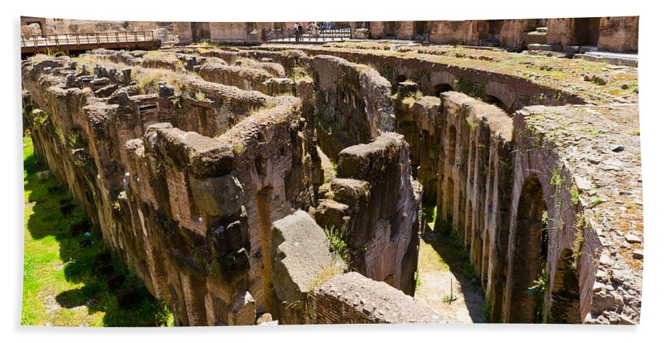 Rome Hand Towel featuring the photograph Roman Coliseum Underground by Jon Berghoff