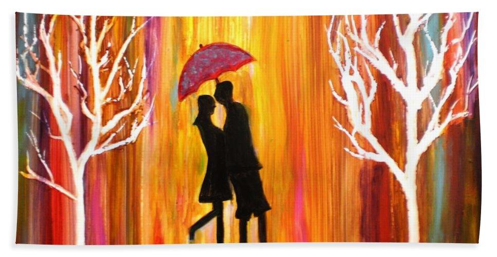 Romance Romantic Love Valentine Rain Trees Umbrella Red Blue Orange Yellow Yupo Paper Figures Anniversary Colorful White Black Bath Towel featuring the photograph Romance in the rain II by Manjiri Kanvinde
