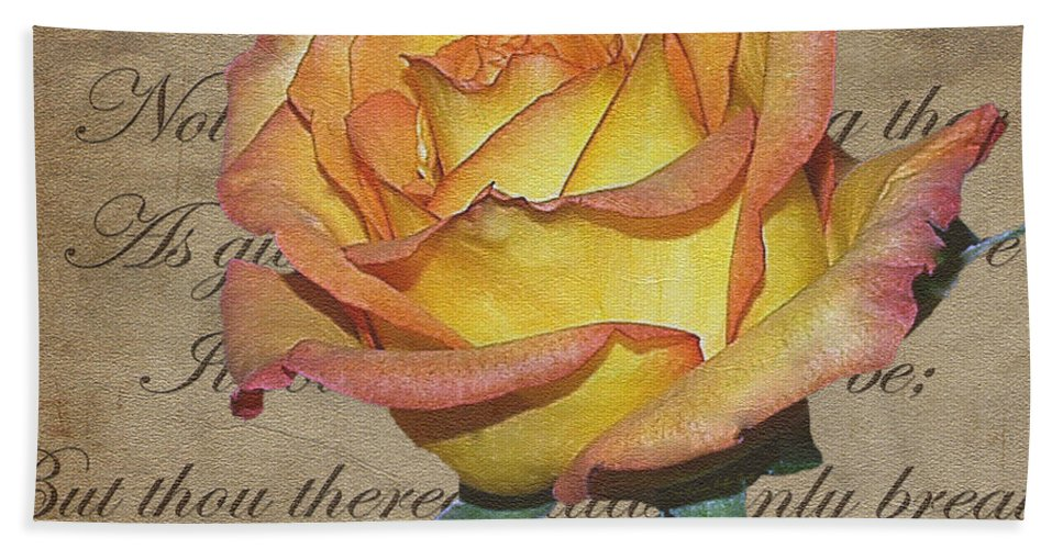 Mixed Media Hand Towel featuring the photograph Romantic Rose by Patricia Griffin Brett