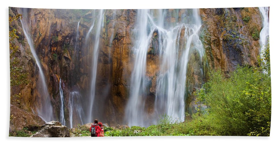 Beautiful Bath Sheet featuring the photograph Romantic Scenery By The Waterfall by Artur Bogacki