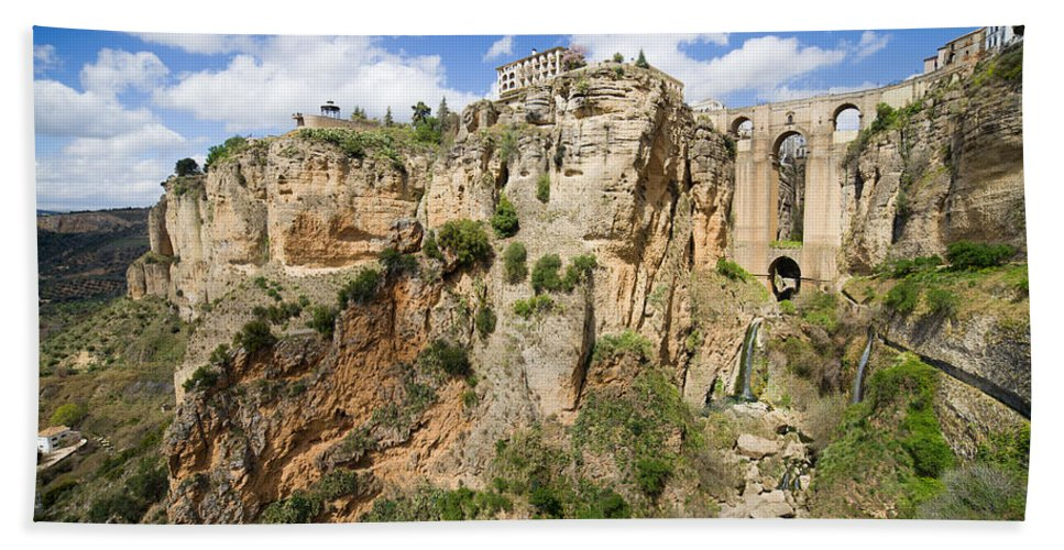 New Hand Towel featuring the photograph Ronda Rocks In Andalusia by Artur Bogacki