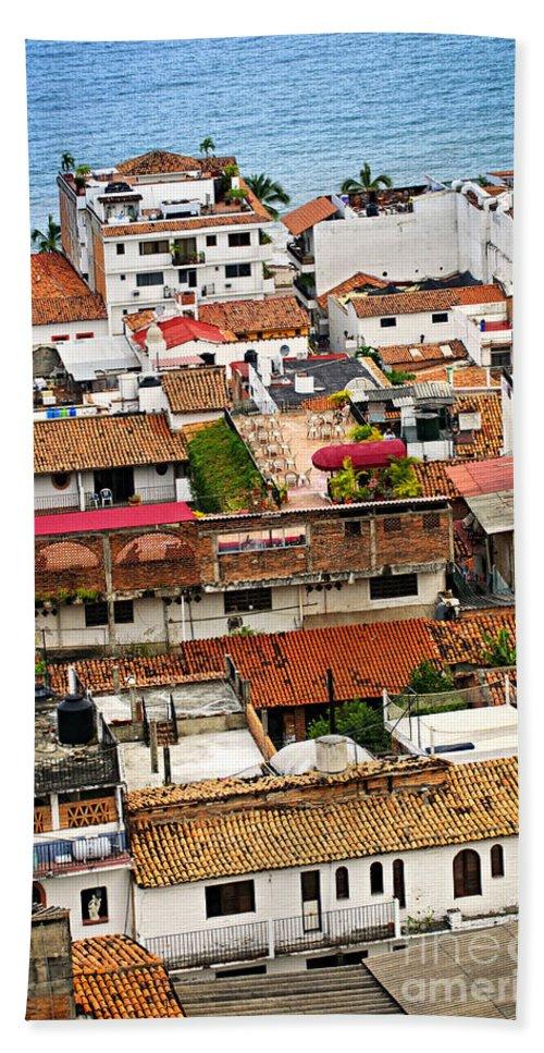 Puerto Vallarta Bath Sheet featuring the photograph Rooftops In Puerto Vallarta Mexico by Elena Elisseeva