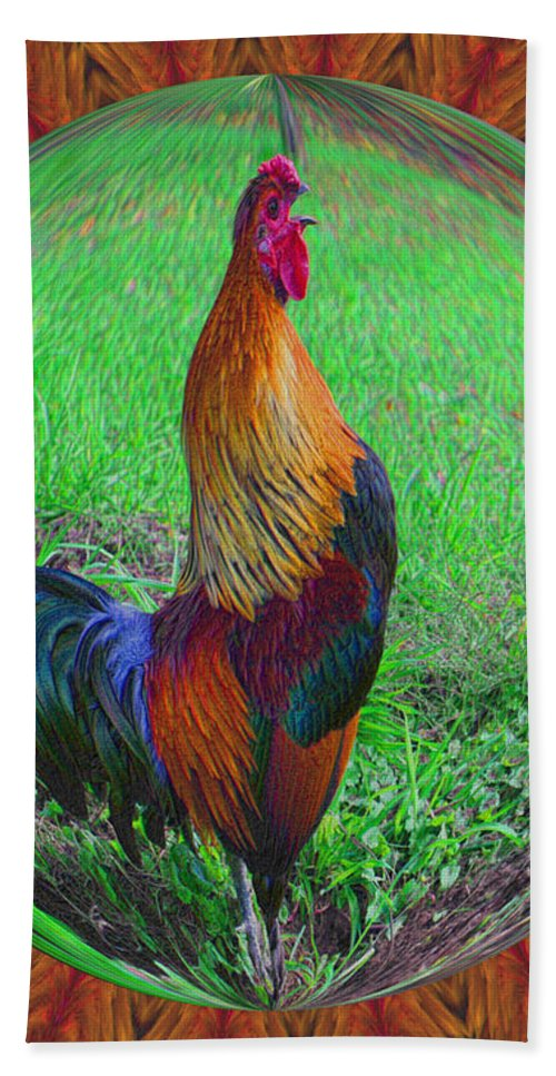 Animal Bath Sheet featuring the digital art Rooster Colors by Smilin Eyes Treasures