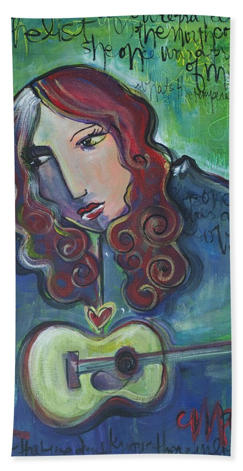 Roseanne Cash Hand Towel featuring the painting Roseanne Cash by Laurie Maves ART