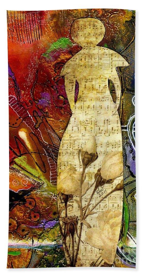 Women Bath Sheet featuring the mixed media Rosebud The Angel Of Sweet Songs by Angela L Walker