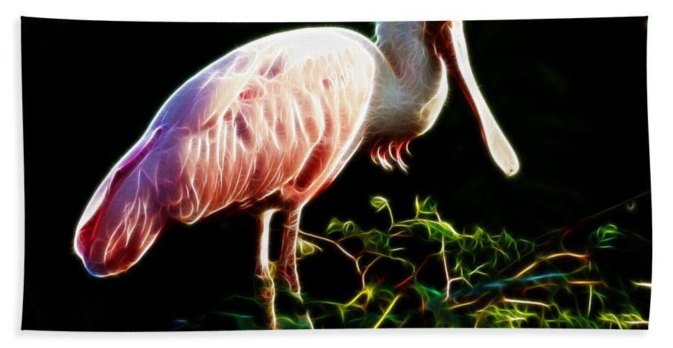 Spoonbill Bath Sheet featuring the photograph Rosette Spoonbill Shimmering by Darleen Stry