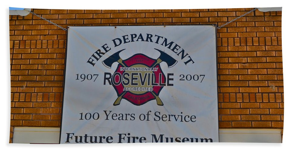 Fire Station Hand Towel featuring the photograph Roseville Fire Department Museum by Bill Owen