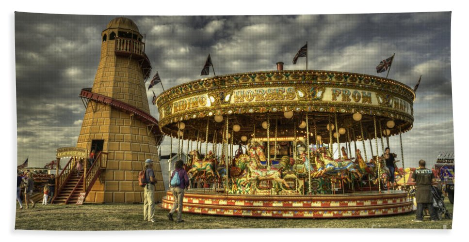Carousel Bath Sheet featuring the photograph Round And Round by Rob Hawkins