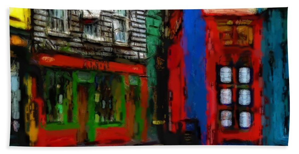 Dog Street Shop Color Colorful Ireland Cork Window Door Pub Still Life Expressionism Impressionism Oil Pastel Painting Abstract Corner Art City Cityscape Urban Bath Sheet featuring the pastel Round The Corner by Steve K