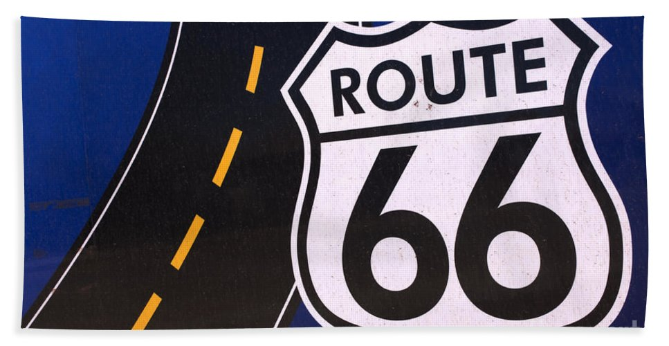 Winslow Bath Sheet featuring the photograph Route 66 Sign Winslow Arizona by Bob Christopher