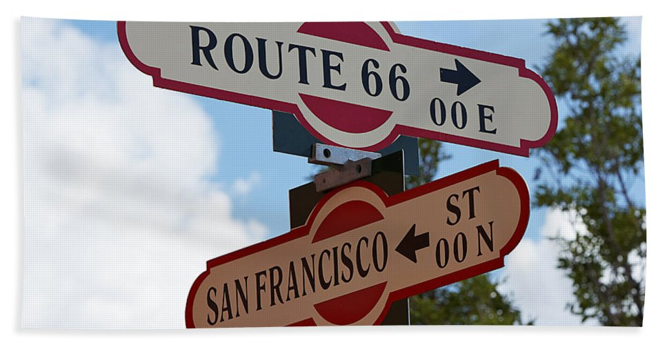 Sign Bath Sheet featuring the photograph Route 66 Street Sign by Phyllis Denton