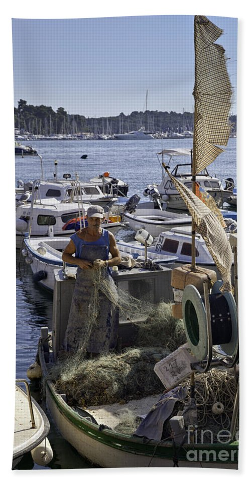 Rovinj Bath Sheet featuring the photograph Rovinj Fisherman by Madeline Ellis