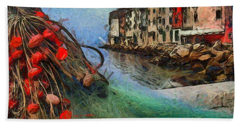 Istria Bath Sheet featuring the painting Rovinj The Ancient Adriatic City by Dragica Micki Fortuna
