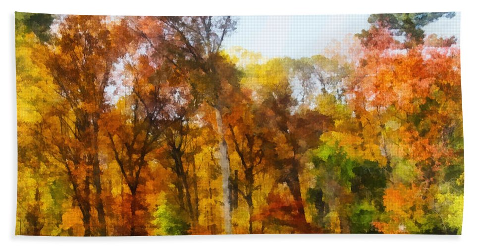 Autumn Hand Towel featuring the photograph Row Of Autumn Trees by Susan Savad