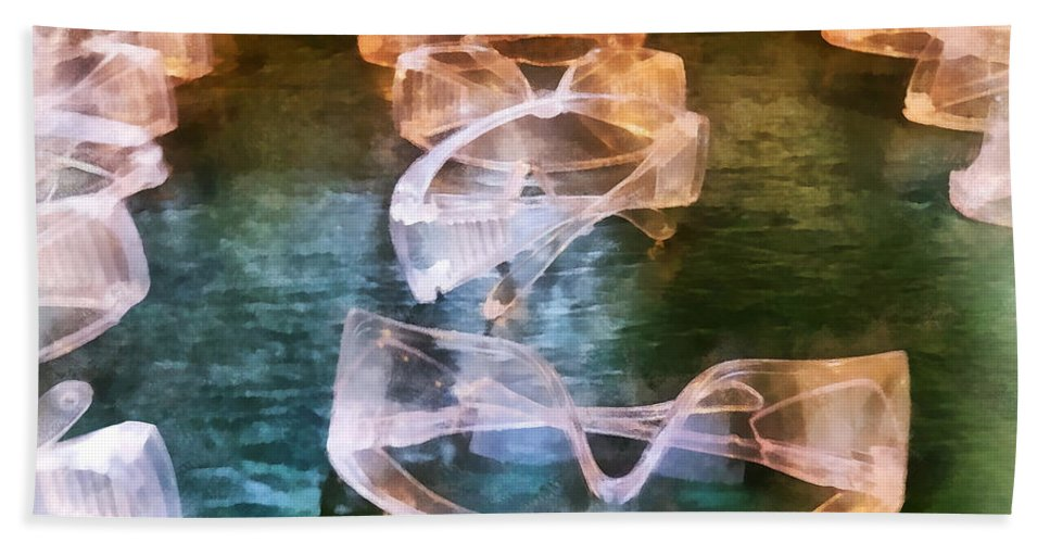 Goggles Hand Towel featuring the photograph Rows Of Safety Goggles by Susan Savad