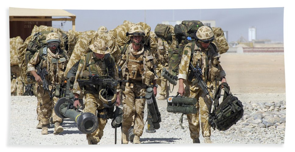 Carrying Bath Sheet featuring the photograph Royal Marines Haul Their Equipment by Andrew Chittock