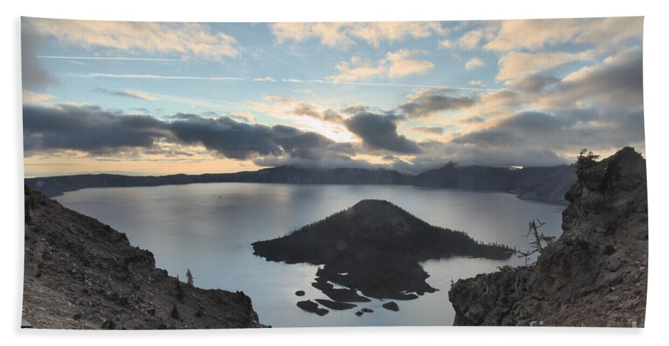 Crater Lake National Park Hand Towel featuring the photograph Rugged Wizard by Adam Jewell