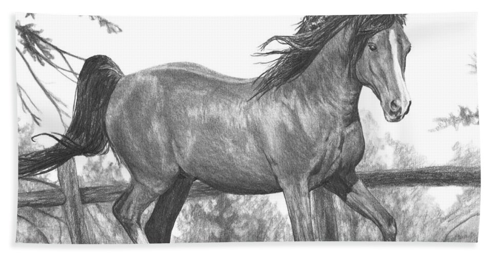 Horse Bath Sheet featuring the drawing Running Horse by Bobby Shaw