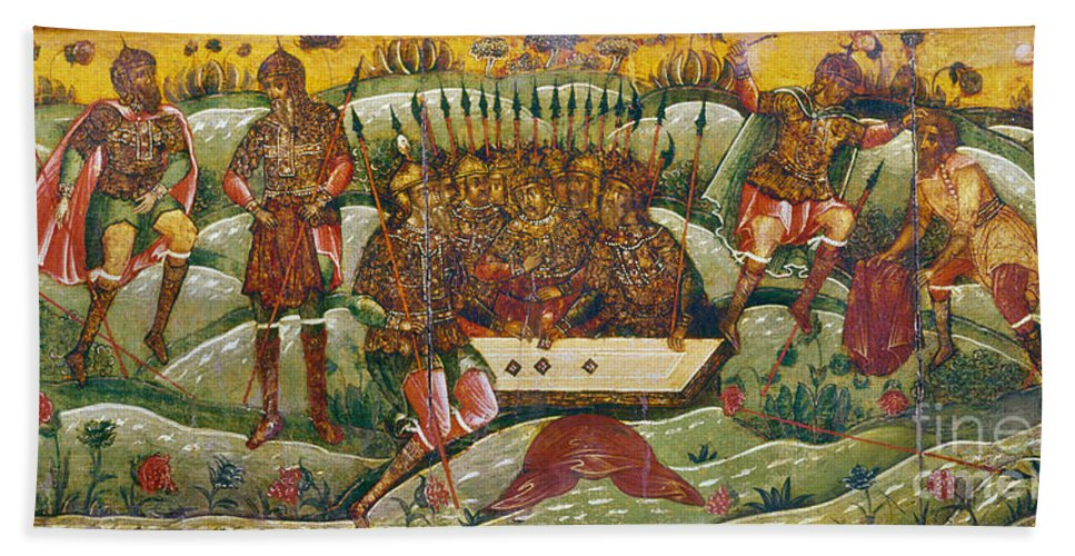 17th Century Hand Towel featuring the photograph Russian Icon: Dice Players by Granger