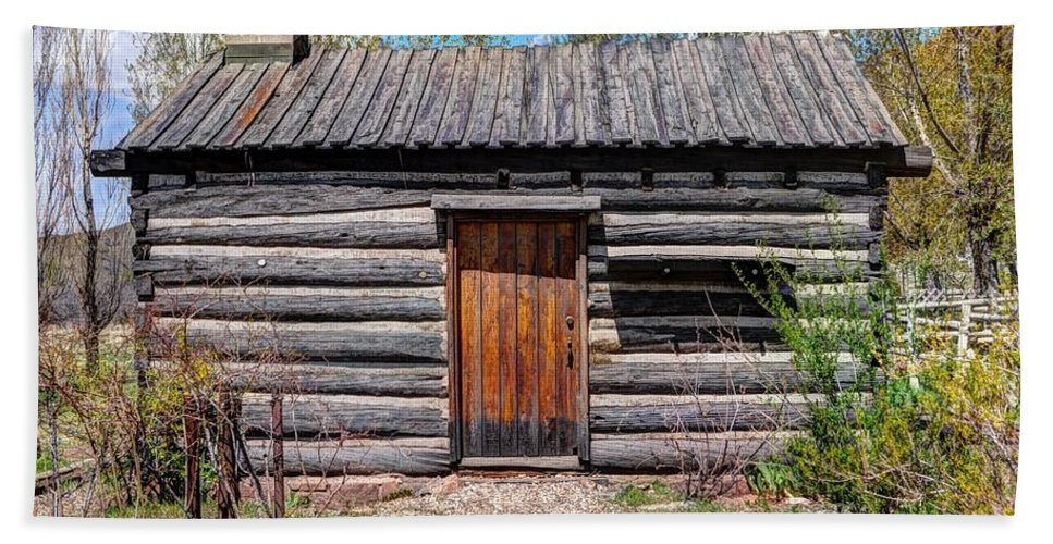 Rustic Hand Towel featuring the photograph Rustic Pioneer Log Cabin - Salt Lake City by Gary Whitton