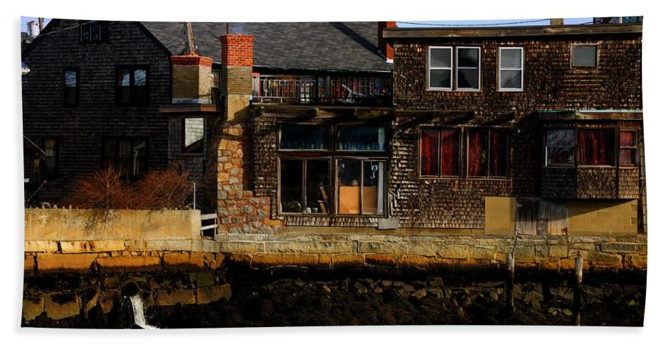 Rockport Bath Sheet featuring the photograph Rustic Waterfront by Mark Valentine