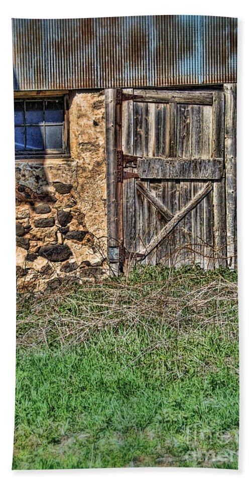 Door Bath Sheet featuring the photograph Rustic Wooden Door In Stone Barn by Jill Battaglia