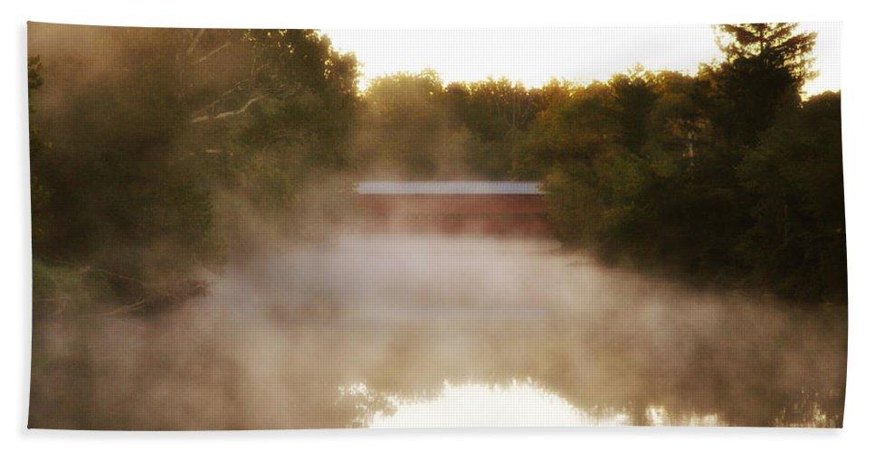 Sachs Covered Bridge In The Mist Bath Sheet featuring the photograph Sachs Covered Bridge In The Mist by Bill Cannon