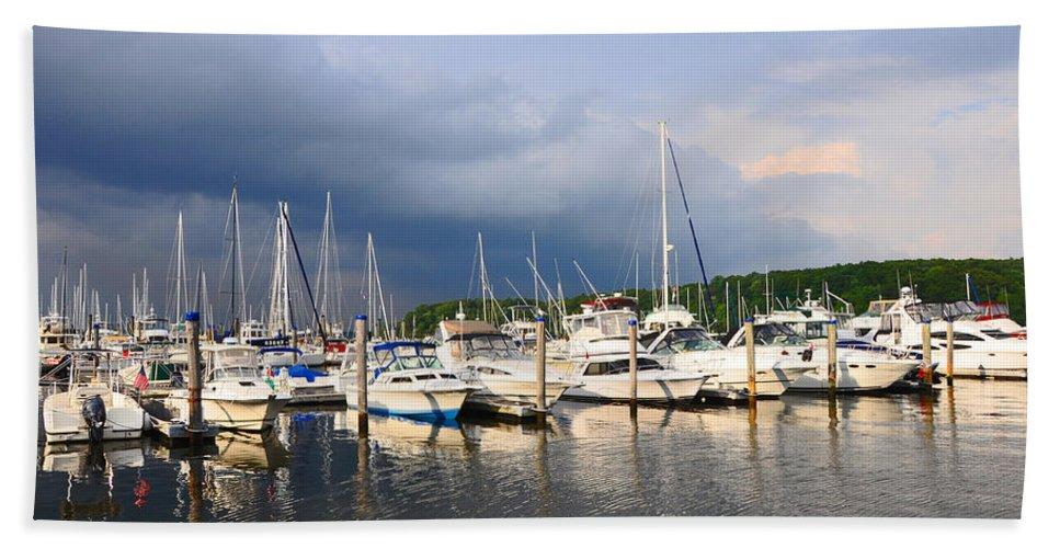 Harbor Bath Sheet featuring the photograph Safe Harbor by Christine Stonebridge