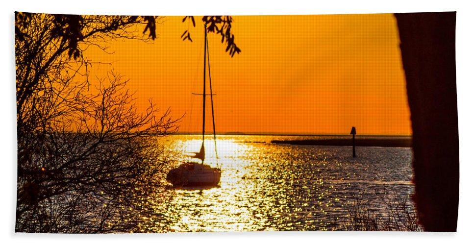 Sunset Bath Sheet featuring the photograph Sail Away by Shannon Harrington