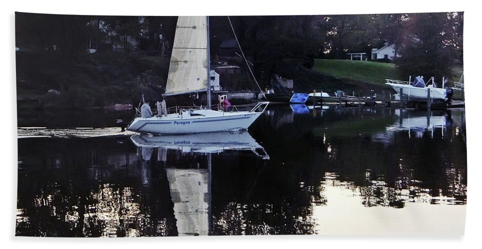2d Bath Sheet featuring the photograph Sailboat Reflection by Brian Wallace
