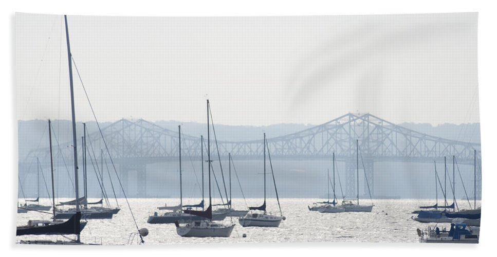 Sailboats And The Tappan Zee Bridge Hand Towel featuring the photograph Sailboats And The Tappan Zee Bridge by Bill Cannon