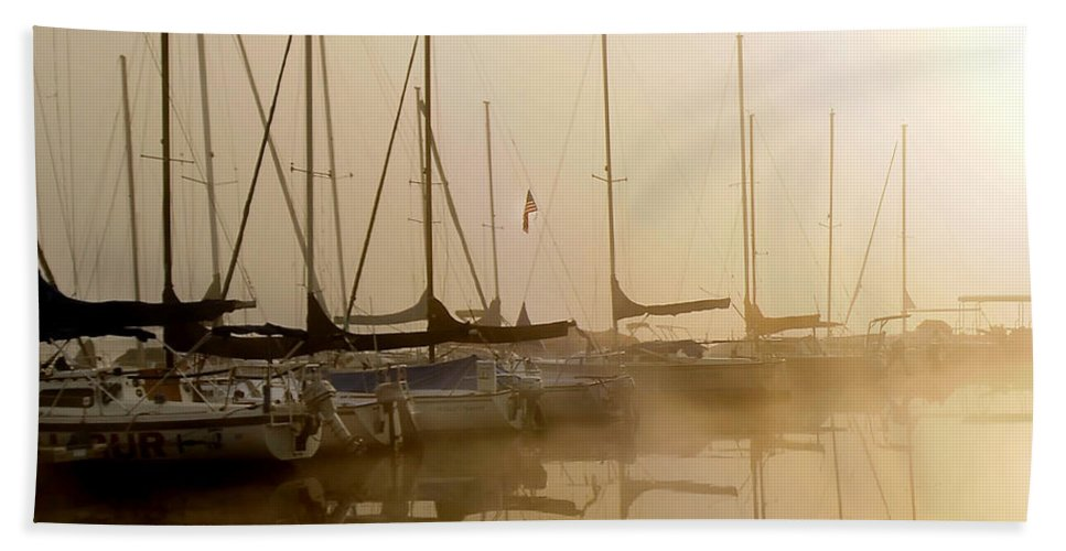 Sailbots Water Hand Towel featuring the photograph Sailboats In Golden Fog by Randall Branham