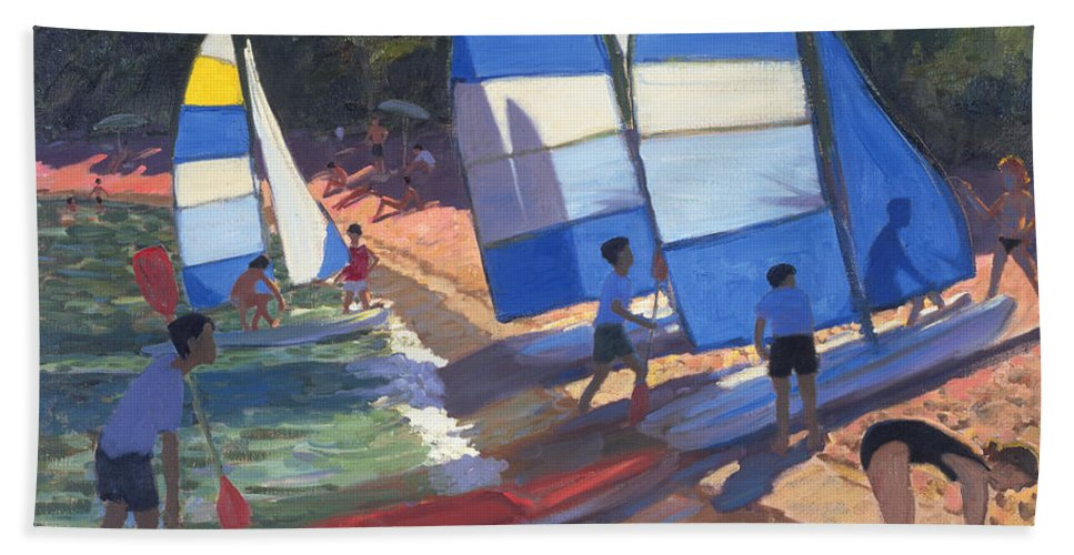 Beach Bath Sheet featuring the painting Sailboats South Of France by Andrew Macara