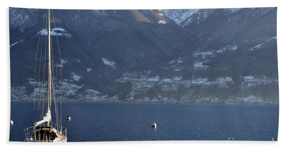 Sailing Boat Bath Sheet featuring the photograph Sailing Boat On A Lake by Mats Silvan