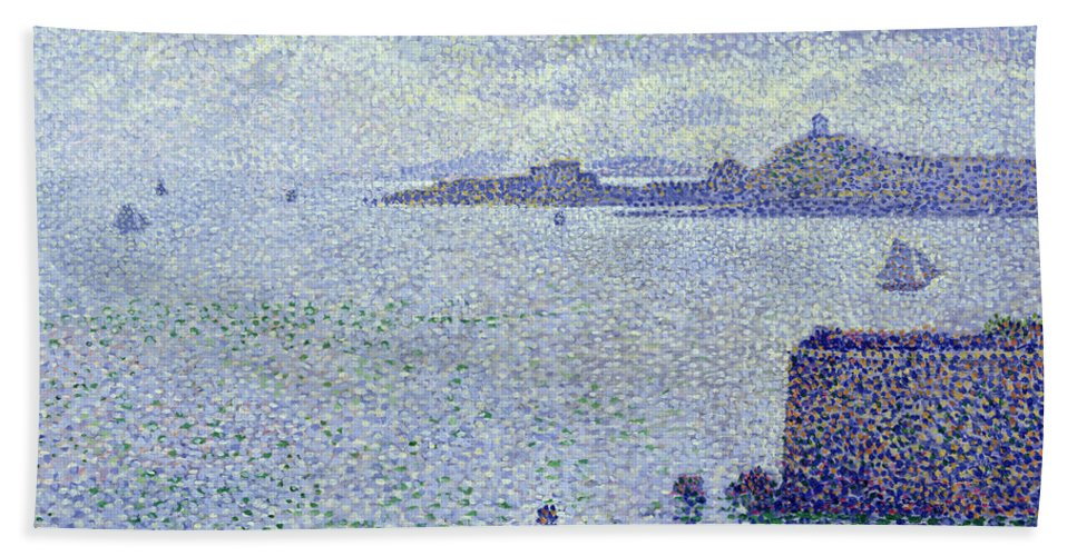 Voiliers Et Estuaire Hand Towel featuring the painting Sailing Boats In An Estuary by Theo van Rysselberghe