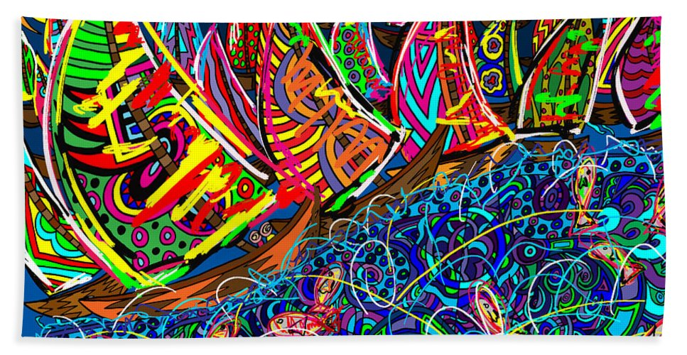 Ocean Hand Towel featuring the painting Sailing The Deep Blue by Karen Elzinga