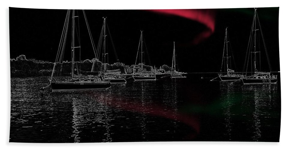 Ny Bath Sheet featuring the photograph Sailing Under Strange Lights by Ericamaxine Price