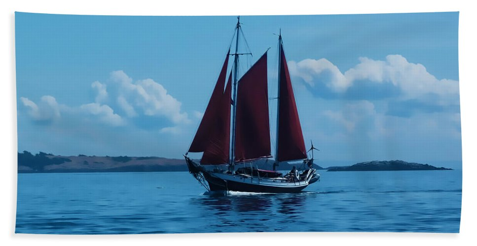 Boat Hand Towel featuring the photograph Sails Off The San Juans by Terry Fiala