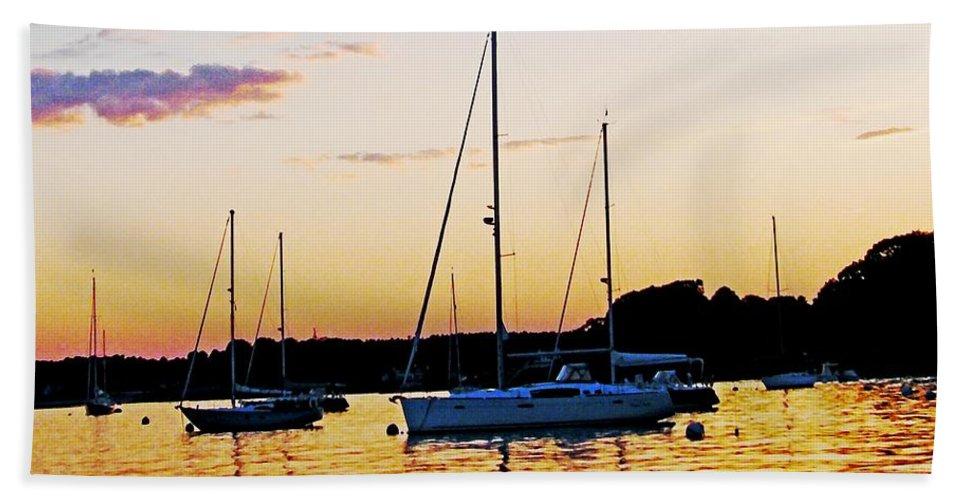 Sunset Bath Sheet featuring the digital art Salem Harbor Amber Sunset by Lizi Beard-Ward