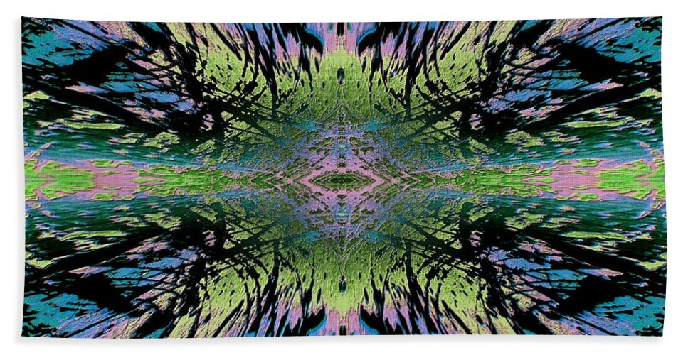 Abstract Hand Towel featuring the digital art Salient Blue by Tim Allen
