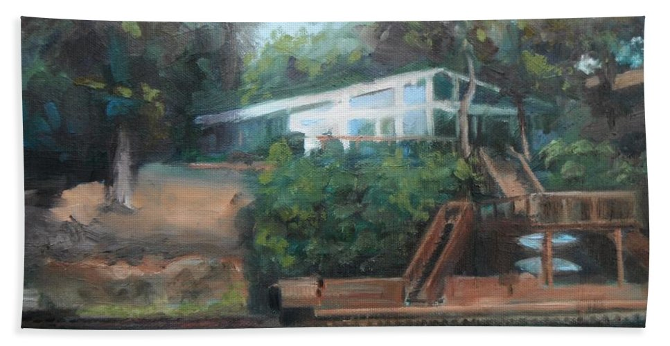 Landscape Bath Sheet featuring the painting Sally's Hideaway by Donna Tuten