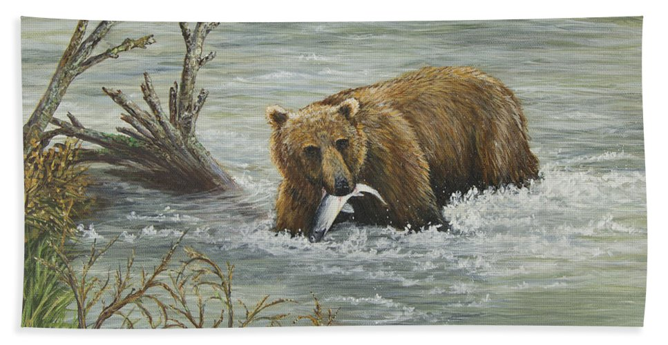 Bear Bath Sheet featuring the painting Salmon For Lunch by Dee Carpenter