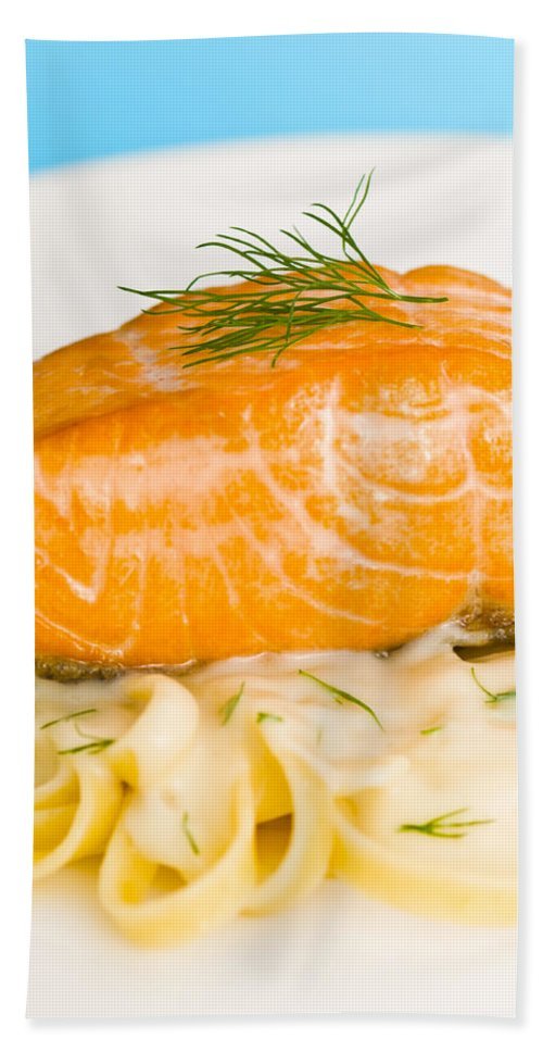 Wild Salmon Bath Sheet featuring the photograph Salmon Steak On Pasta Decorated With Dill Closeup by U Schade