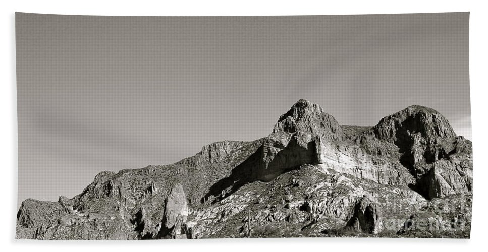 Salt River Canyon Bath Sheet featuring the photograph Salt River Black And White by Pamela Walrath