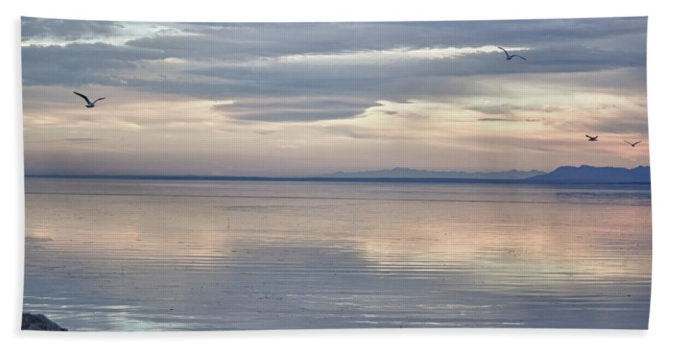 Sunset Bath Sheet featuring the photograph Salton Sea Sunset by Linda Dunn