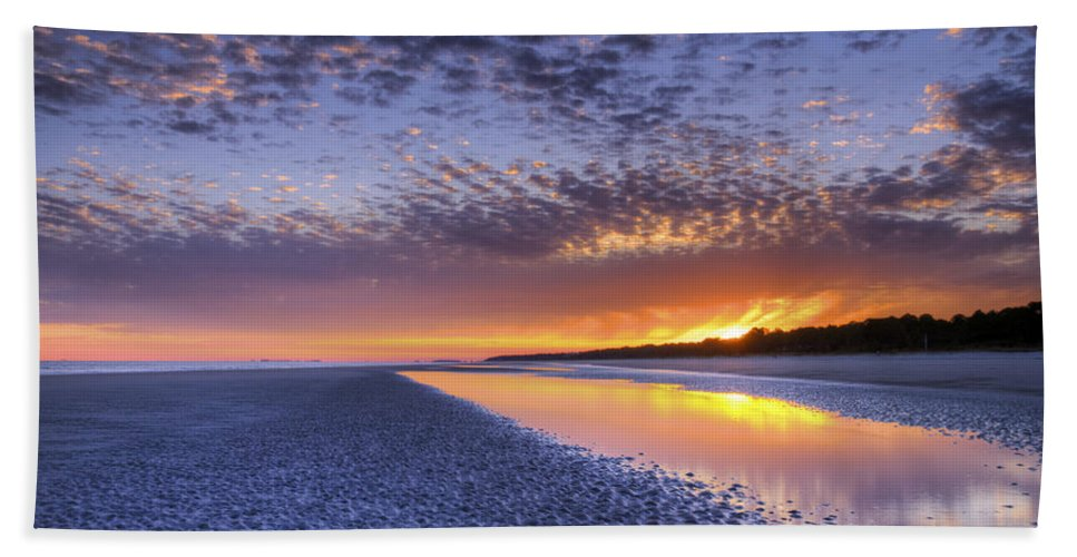 Beach Bath Sheet featuring the photograph Same Night Five Fifty Nine Pm by Phill Doherty