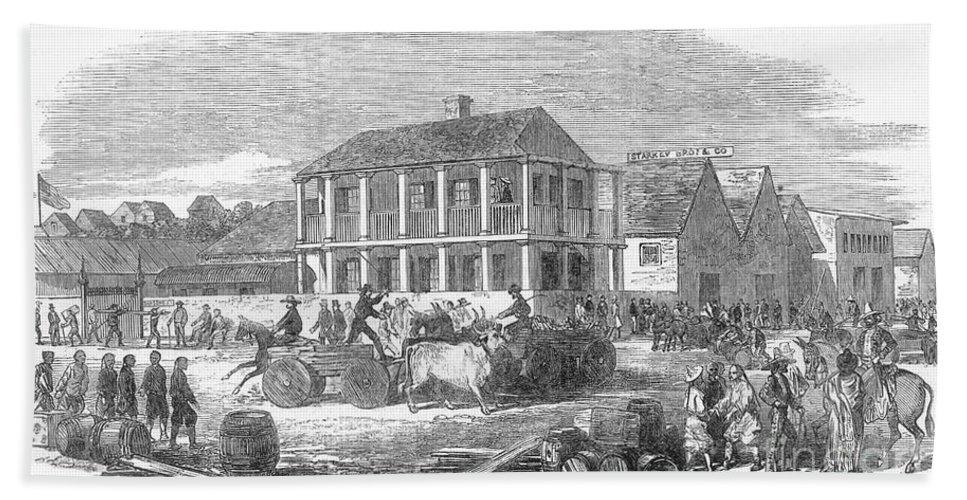 1850 Bath Sheet featuring the photograph San Francisco, 1850 by Granger
