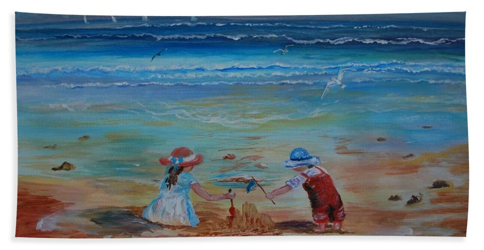 Seascape Bath Sheet featuring the painting Sandcastle by Leslie Allen